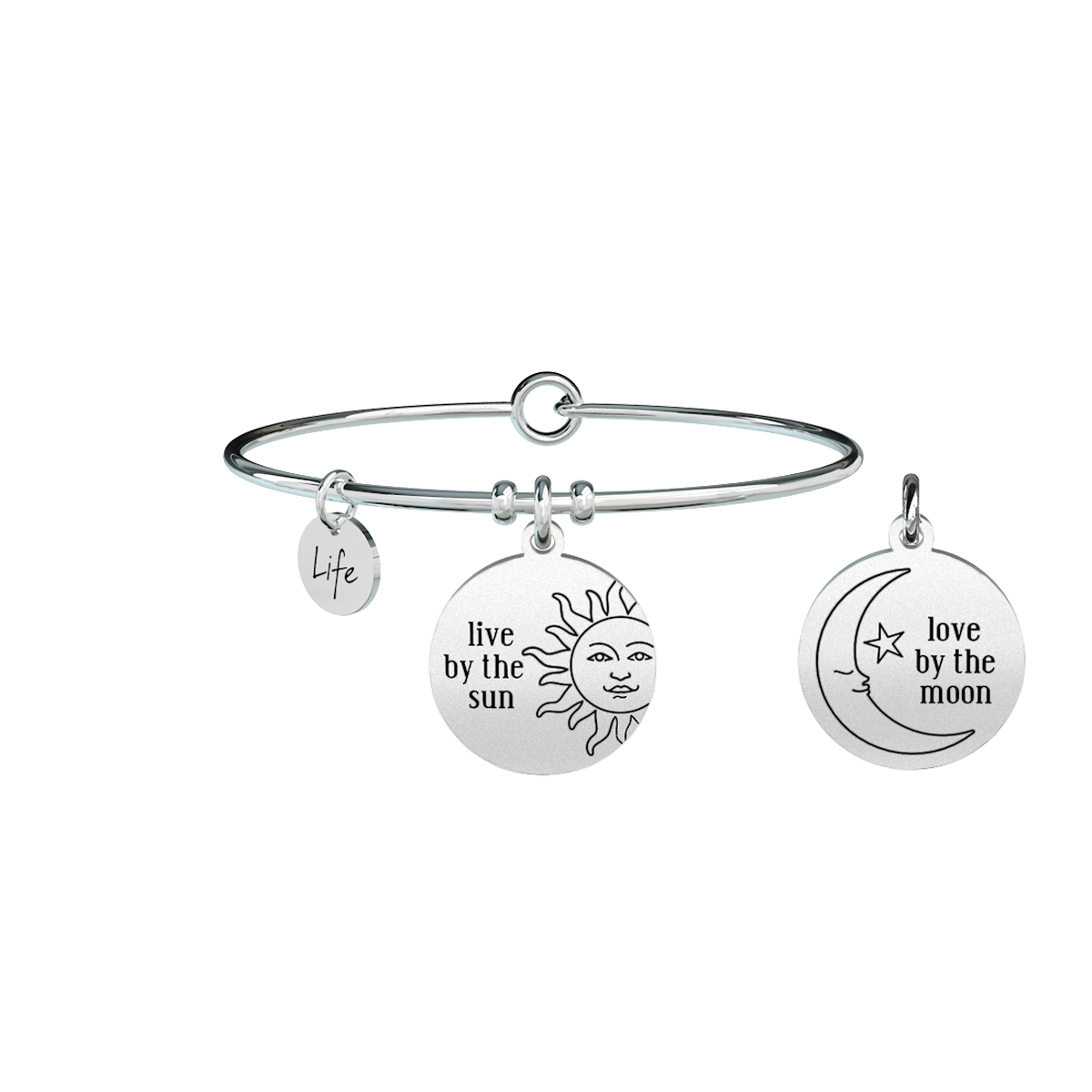 Bracciale KIDULT philosophy acciaio 316L 731310 LIVE BY THE SUN LOVE BY THE MOON