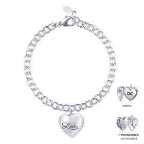 Mabina outlet 533242 bracciale cuore argento zirconie donna